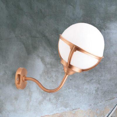 Copper Exterior Globe Sconce Lantern