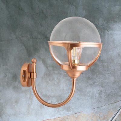 Copper Exterior Globe Wall Lantern