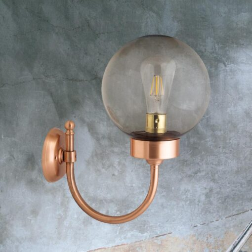 Copper Exterior Smoked Globe Wall Light