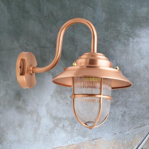 Copper Exterior Swan Neck Wall Lantern