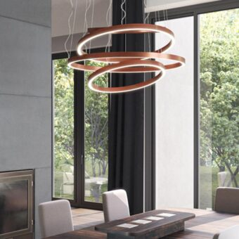 Copper LED Suspended Ring Pendant