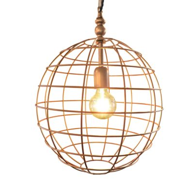 Copper Large Round Cage Pendant Light