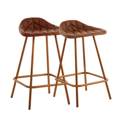 Copper Leather Bar Stool