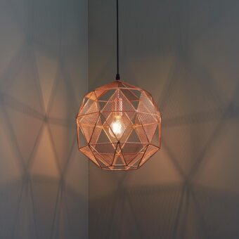 industrial geometric copper mesh pendant light fitting