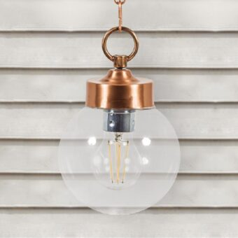Copper Outdoor Globe Pendant Light