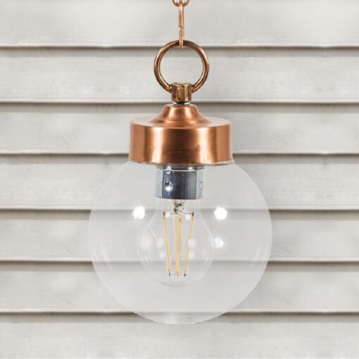 Copper Outdoor Globe Pendant Light