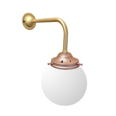 Copper Satin Brass Opal Globe Wall Light