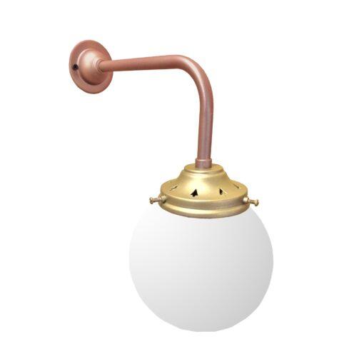 Copper Satin Brass Opal Globe Wall Light