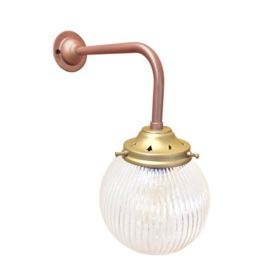 Copper Satin Brass Prismatic Globe Wall Light