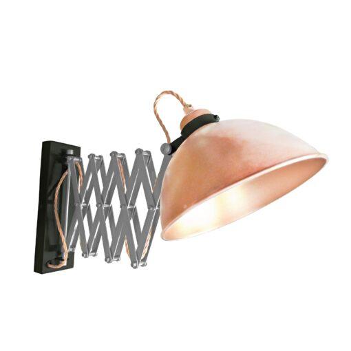 Copper Scissor Arm Wall Light Black Two Tone