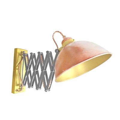 Copper Scissor Arm Wall Light Satin Brass Inner