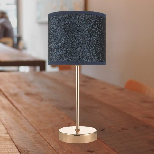 Copper Touch Lamp with Navy Shade