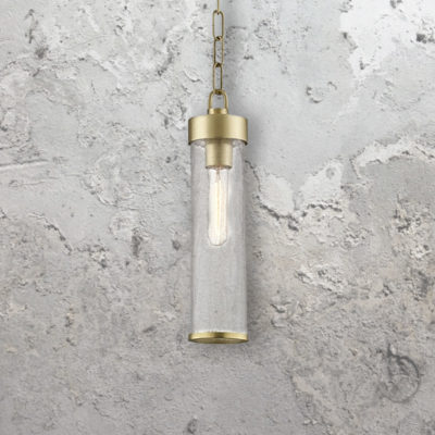 Crackled Glass Tube Pendant Light