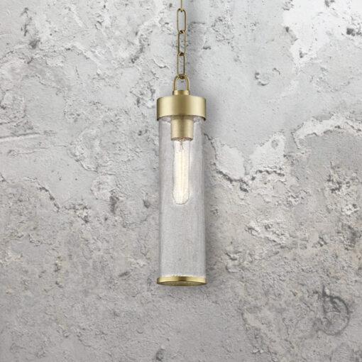 Crackled Glass Tube Pendant Light