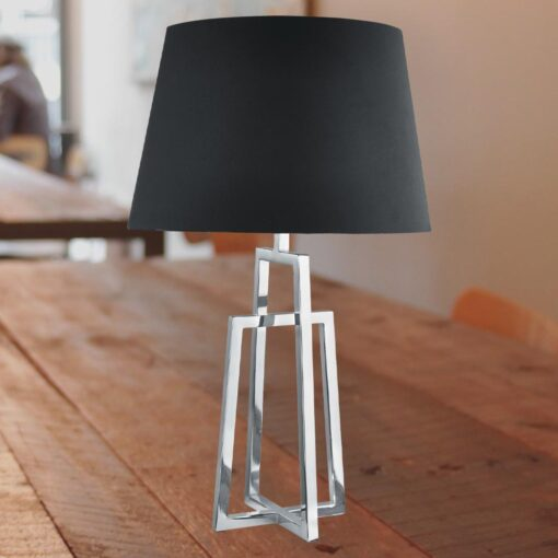 Crossed Chrome Table Lamp with Black Shade