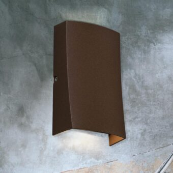 Curved Rust Outdoor Wall Light