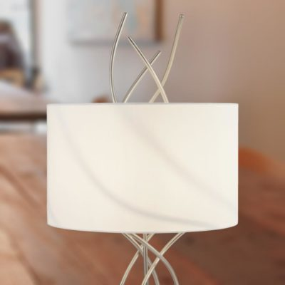Curved Silver Table Lamp with White Shade