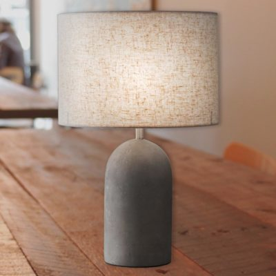 Cylinder Concrete Table Lamp with Linen Shade