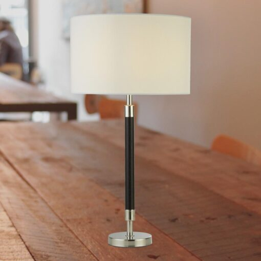 Dark Wood Chrome Table Lamp with White Shade
