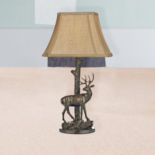 Aged Brass Deer Table Lamp