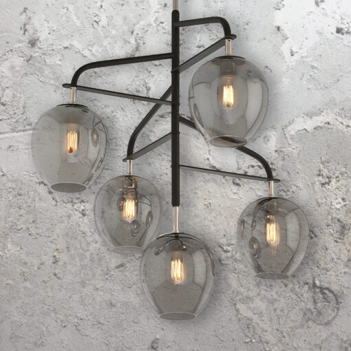 Designer 5 Light Smoked Chandelier