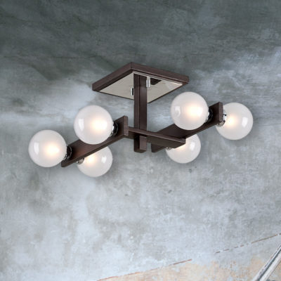 Designer Bronze Wood Semi Flush with Globes