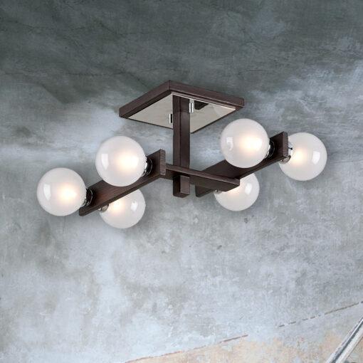 Designer Bronze Wood Semi Flush with Globes