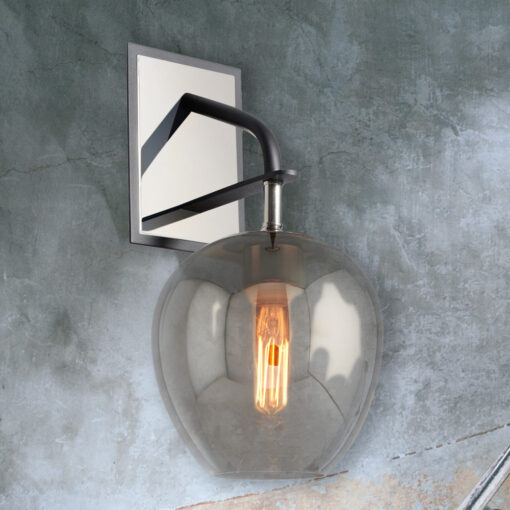 Designer Smoked Nickel Wall Light