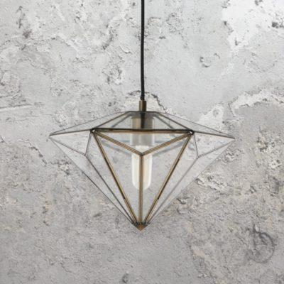 Diamond Antique Brass Pendant Light