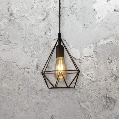 industrial style metal steel mini geometric wire cage pendant light
