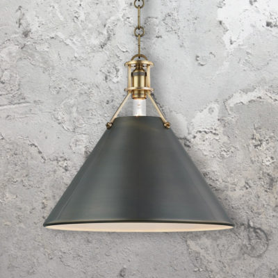 Distressed Bronze Conical Pendant Light