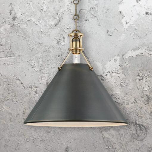 Distressed Bronze Conical Pendant Light