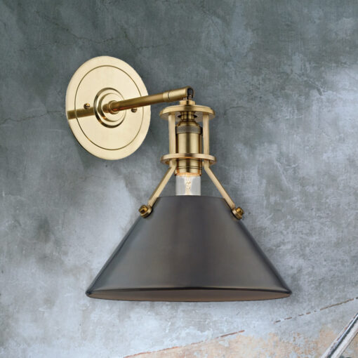 Distressed Bronze Conical Wall Light