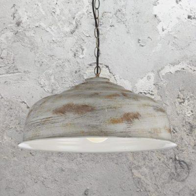 Distressed White Rust Pendant Light