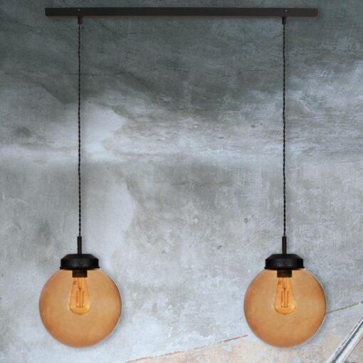 Double Amber Glass Globe Pendant Light