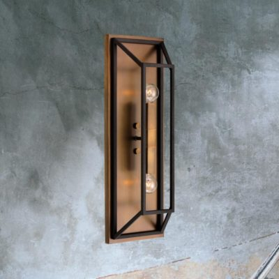 Double Bronze Rectangular Wall Light