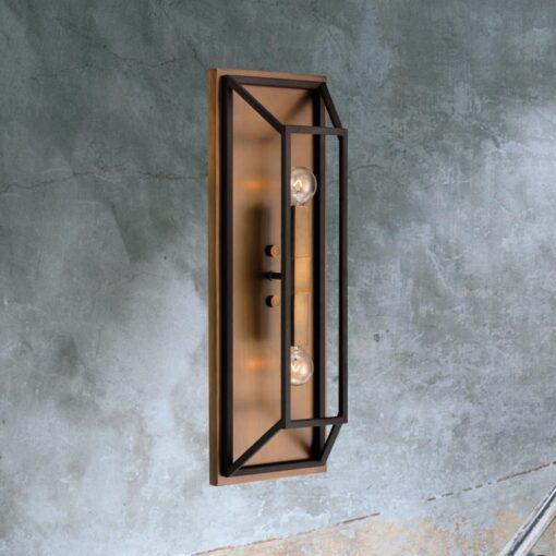 Double Bronze Rectangular Wall Light