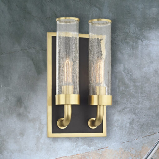 Double Crackled Glass Wall Light