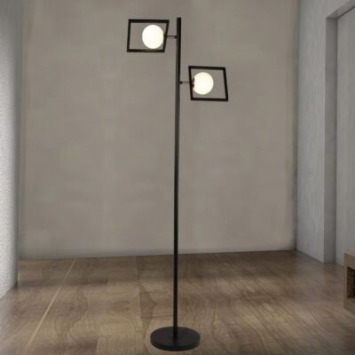 Double Opal Globe Floor Lamp