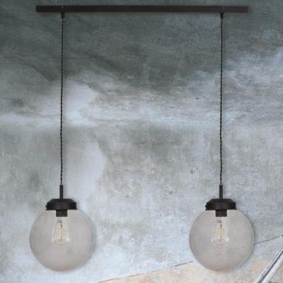 Double Smoked Glass Globe Pendant Light