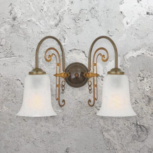 traditional antique brass double swan neck wall light fitting