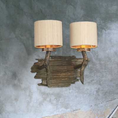 Double Wood Wall Light
