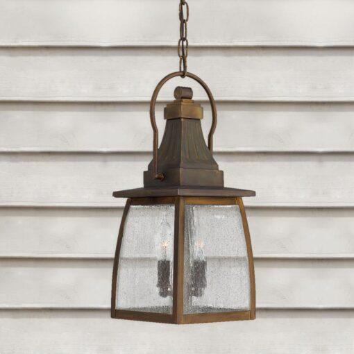 Exterior Brass Lantern Light,2 light Chained Pendant,Outdoor Brass Lantern Light