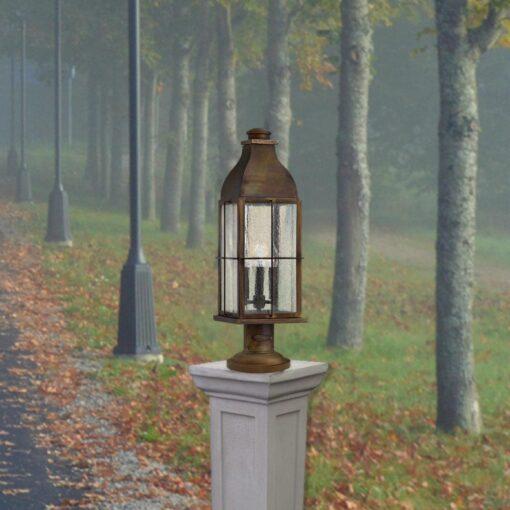 3 Light SolidExteriorBrass Pedestal Lantern