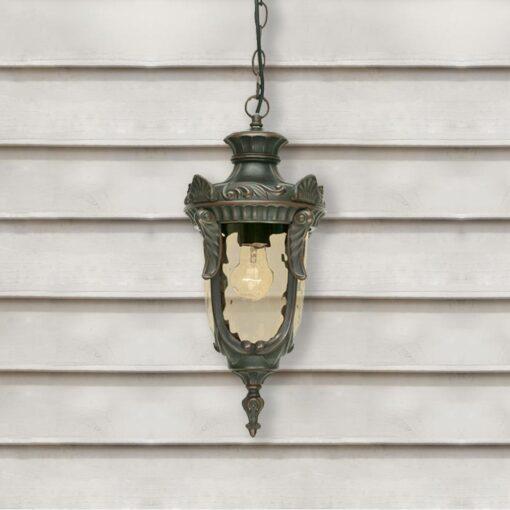 Exterior Bronze Amber Glass Lantern