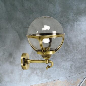 Antique Brass Exterior Smoked Globe Wall Lantern