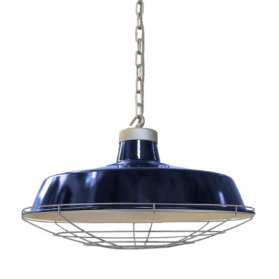 Factory Blue Enamel Pendant Light