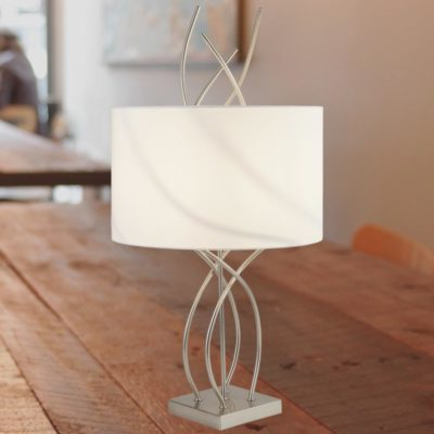 Flame Silver Table Lamp with White Shade