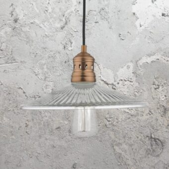 Flat Ribbed Glass Pendant Light
