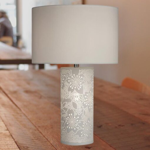 Flower Pattern Table Lamp with White Shade